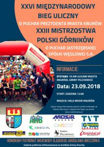 Knurów: XXVI Międzynarodowy Bieg Uliczny o Puchar Prezydenta Miasta Knurów oraz XXIII Mistrzostwa Polski Górników @ Knurów | śląskie | Polska