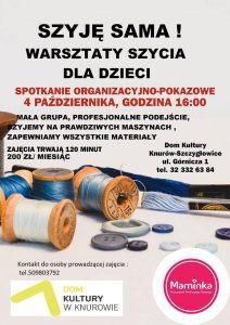 DK Knurów-Szczygłowice: Warsztaty szycia dla dzieci @ Knurów | śląskie | Polska