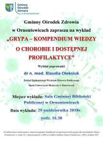 Ornontowice: Gminny Ośrodek Zdrowia zaprasza na wykład o grypie @ Ornontowice | śląskie | Polska