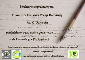 Pilchowice: X Gminny Konkurs Poezji Rodzimej ks. K.Damrota @ Pilchowice | śląskie | Polska