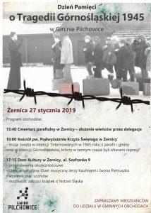 Żernica: Zapraszamy do udziału w Gminnych Obchodach Dnia Pamięci o Tragedii Górnośląskiej 1945 roku.