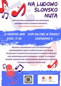 """DK Żernica: Spotkanie informacyjne w ramach projektu """"NA LUDOWO ŚLONSKO NUTA"""""""