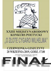 """MOK Czerwionka-Leszczyny: Finał XXIII Międzynarodowego Konkursu Poetyckiego """"O Złote Cygaro Wilhelma"""""""