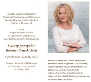 """Czerwionka-Leszczyny: """"Światy poetyckie Barbary Gruszki-Zych"""" - konferencja"""