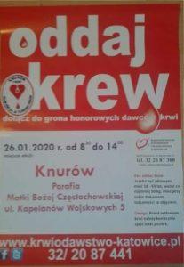 """Knurów: """"Oddaj Krew"""" na terenie Parafii Matki Bożej Częstochowskiej"""