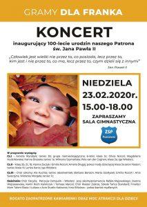 ZSP Paniówki: Gramy Dla Franka -koncert inaugurujący 100-lecie urodzenia Patrona św. Jana Pawła II