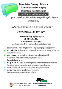 """Czerwionka-Leszczyny: Spotkanie informacyjne """"Porozmawiajmy o rynku pracy"""""""