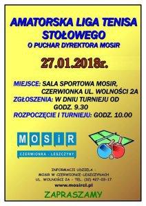 MOSiR w Czerwionce-Leszczynach: Amatorska Liga Tenisa Stołowego o Puchar Dyrektora MOSiR @ Czerwionka-Leszczyny | śląskie | Polska