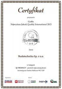 Certfikat Srebrne Godło Najwyższa Jakość Quality International 2015 w kategorii  QI Product dla Budotechnika Sp. z o.o.