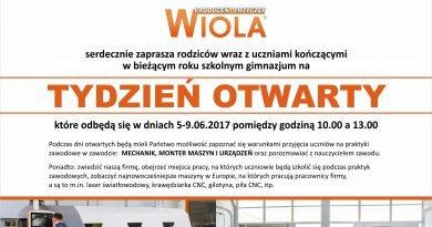 Zaproszenie dla uczniów kończacych gimnazjum: Producent przyczep WIOLA