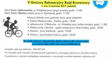 V Rodzinny Rajd Rowerowy 3 czerwca Leboszowice-Stanica